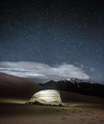 teltlykter lyser opp teltturen